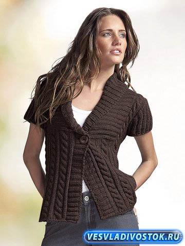 Женский вязаный жакет: практично и стильно, в сочетании с брюками - «классика жанра»